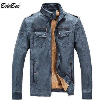 BOLUBAO New Winter Warm Velvet Mens Jackets Coat Patchwork PU Male Leather Jacket Casual Windbreaker Faux Leather Coat Men