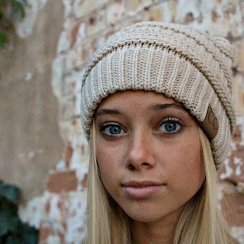 CC Knit Beanie Hat | Oatmeal Taupe Olive Rust Ivory Mustard Gray C.C