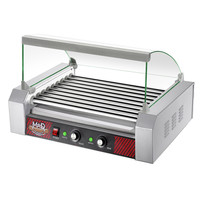 """9 Roller Commercial Hot Dog Machine Grill with Cover (Stainless Steel) (23""""W x 15.25""""H x 16""""D)"""
