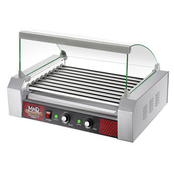 "9 Roller Commercial Hot Dog Machine Grill with Cover (Stainless Steel) (23""W x 15.25""H x 16""D)"