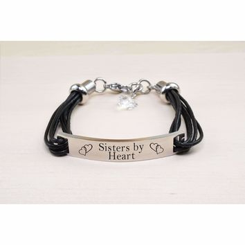 Genuine Leather ID Bracelet with Crystals from Swarovski - SISTERS BY HEART