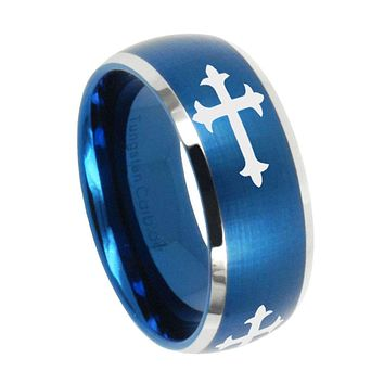 8mm Christian Cross Dome Brushed Blue 2 Tone Tungsten Men's Wedding Band