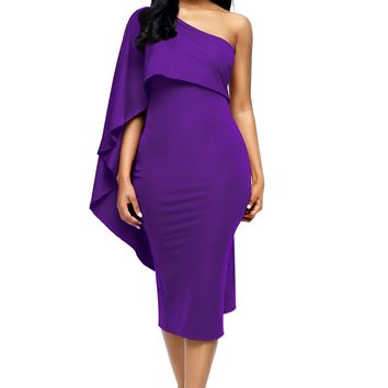Purple Batwing Sleeve One Shoulder Sheath Dress