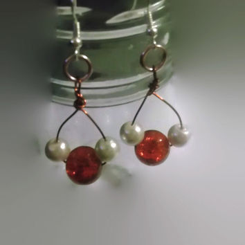 Boho Chic Sterling Silver Dangle Drop Earrings with Red and White Pearl Glass Beads Wire Wrapped Stocking Stuffer Friend Coworker Gift