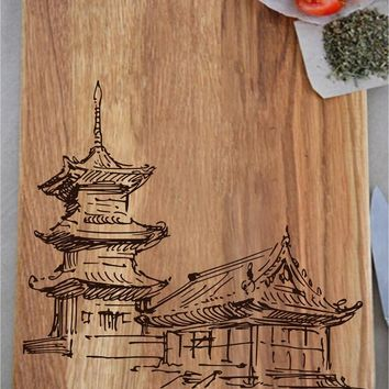 ikb71 Personalized Cutting Board Wood Sushi House Japanese Temple restaurant kitchen