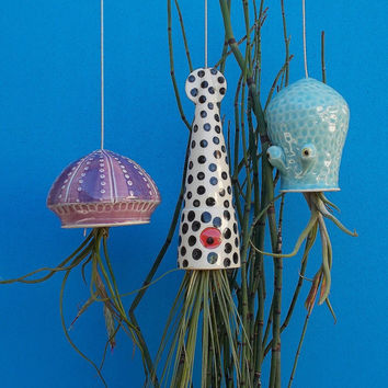 Air Planters, Hanging Planters, Large Octopus Garden,  Squid, Octopus and Jellyfish