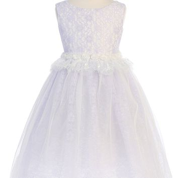 Girls Lavender Lace Heart Open Back Dress w. Mesh Overlay 2T-12