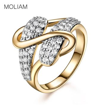 S Design Gold-Color Cubic Zircon Crystal Stackable Ring