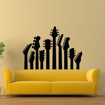 Guitar Wall Decal- Music Wall Decal- Musical Instrument Decals Vinyl Stickers Living Room Boy Room Bedroom Dorm Recording Studio Decor Z814