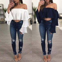 Summer Womens Fashion Off Shoulder Blouse Loose Causal T- shirt Boho Vest Tops