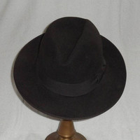 Vintage CHARCOAL BLACK FEDORA /1950s /Crean of Canada/Size Six n Seven Eighths/Black Hat/Pre-owned/Pre-Worn/Unisex Fedora/Charcoal Black