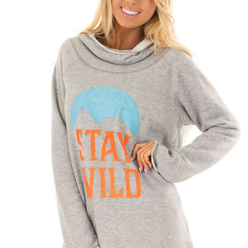Heather Grey 'Stay Wild' Graphic Hoodie