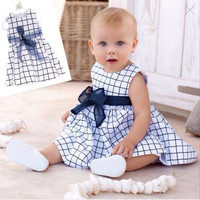 Baby Toddler Girl Kids Cotton Outfit Clothes Top Bow-knot Plaids Dress 0-3 Years