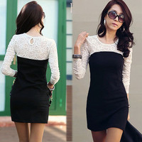 Women Splice See-through Lace Long Sleeve Stretchy Mini Dress Black White 4084