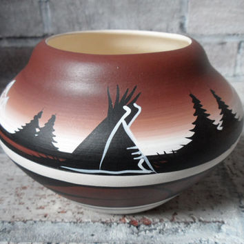 Cedar Mesa Pottery - Navajo Pottery Bowl - Glazed Inside - Clean - No Damages - Signed - Beige Black Tan Brown and Chocolate Colors