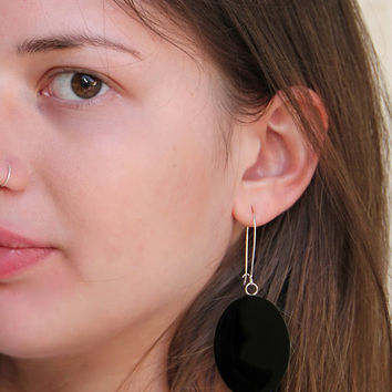 Onyx black earrings minimal dangle long drop oval simple modern monochrome glass dome surgical steel lightweight teenager goth rockgift