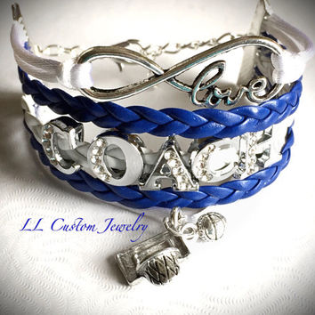 Infinity/Love Rhinestone COACH Bracelet- Multi-strand w/out Charm - Cheer, Football, Dance, Hockey, Sport Mom, Music, sports