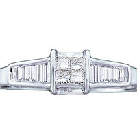 Diamond Ladies Ring with 4 Stone Princess-cut Center in 14k White Gold 0.25 ctw