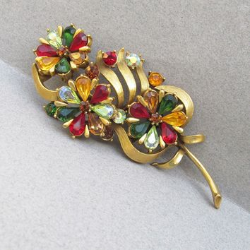 BEAUTY!  Signed CORO Pegasus Vintage 1950's Jewel Tone Tear Drop Rhinestone Flower Bouquet Pin