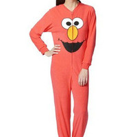 Adult Juniors FOOTED Fleece Pajamas ELMO Sesame Street L-XL Footie Costume