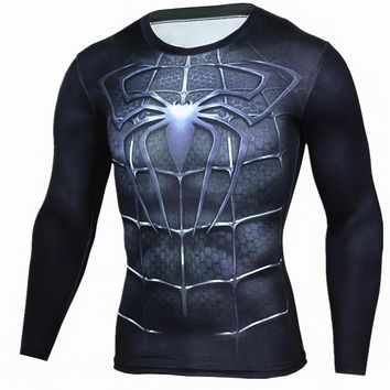2018 Compression Shirt Crossfit T-shirt Men Lycra 3D Print Long Sleeve Tee shirt Fitness Brand Clothing MMA Plus Size 1