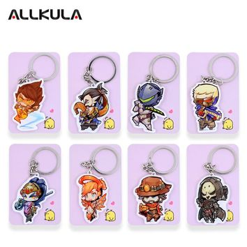 ALL Characters Tracer Reaper Widowmaker Action Figure OW Game Keychain Pendant Key Accessories SS01-24