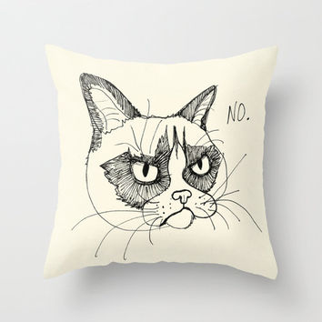 Grumpy Cat Doodle, Tardar Sauce Tard Throw Pillow by Olechka | Society6