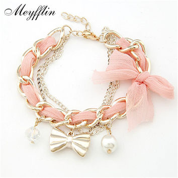 Bracelets for Women Pulseras Fashion Gold Bow Charm Bracelets & Bangles Simulated Pearl Bracelet Femme Pulseira Masculina