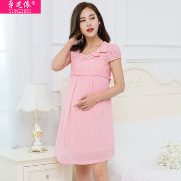 YUNZHIYI 2017 Summer Dobby Dresses For Pregnant Women Work Wear High quality Breastfeeding pregnancy Clothes short sleeve dress