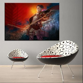 Cool Attack on Titan Large Anime  Poster 1 Panel High Quality Canvas Print Levi Ackerman Picture Wall Art Home Decoration Framework AT_90_11
