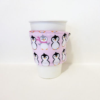 Reusable Coffee Sleeve  Coffee Cozy Pink Penguins