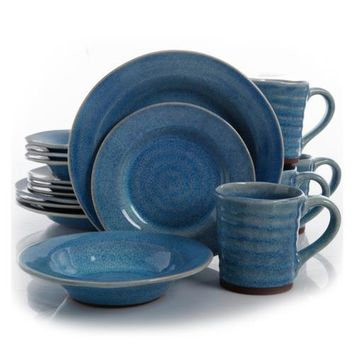 Gibson Elite Mariani 16 Piece Stoneware Dinnerware Set, Blue