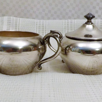 50s Vintage Sheffield  Silver Plate Covered Creamer and Sugar Bowl Set