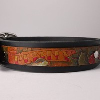 Personalized Tattoo Leather Dog Collar by DieselDOGwear on Etsy