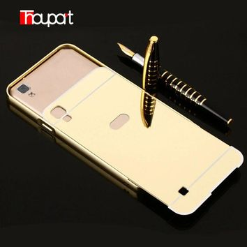 Thouport For LG K220 Case LG X Power Gold Plated Aluminum Frame + Mirror Acrylic Cover Phone Protective For LG K220ds K210 Case