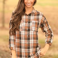 Plaid To See You Blouse-Tan