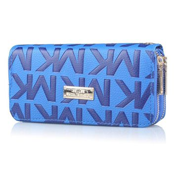 MK MICHAEL KORS Fashionable Women Leather Handbag Zipper Purse Wallet Blue