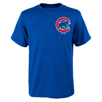 Youth Chicago Cubs Majestic Royal Official Wordmark T-Shirt