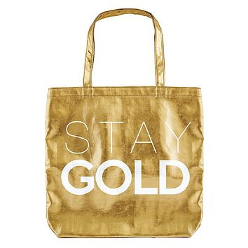 Stay Gold Tote Bag in Metallic Gold