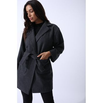 Petite Wool Boyfriend Coat In Grey