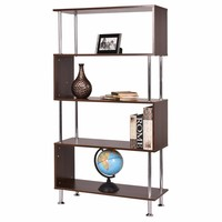 Modern 4 Shelf Wooden Decorative Bookcase