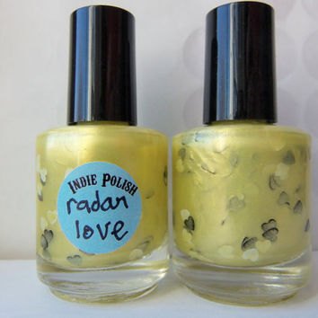 Radar love Nail Polish -  full size bottle  - Handmade - opaque - yellow - nail lacquer - 80's