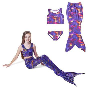 ESBON 2017 Children Girls Mermaid Tail Costume Cosplay Color Baby Kid Mermaid Tails Bikini Swimming Mermaid Swimsuit Set M018