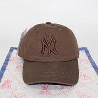 NY Popular Couple Leisure Cotton Letter Embroidery Pure Color Duck Cap Hat Sun Cap Coffee