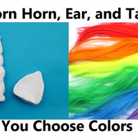 Unicorn Horn, Ear, and Tail Set, Unicorn Costume,  Horn Headband, Horn and Ear Set, Child,  MLP festival cosplay costume ren fair pony tail