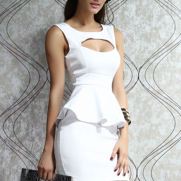 White Sleeveless Peplum Dress with Cut- Out