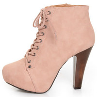 Qupid Puffin 06 Blush Pink Lace-Up Booties - $47.00