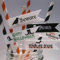 Halloween Party Paper Straw Assortment Flags Poison