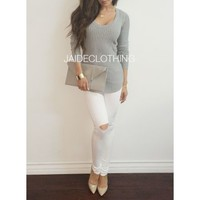 Roundneck Grey Ribbed Sweater - Jaide Clothing