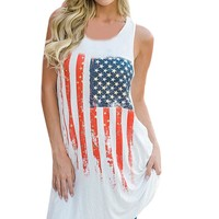 American flag Sleeveless Vest T-Shirt Dress